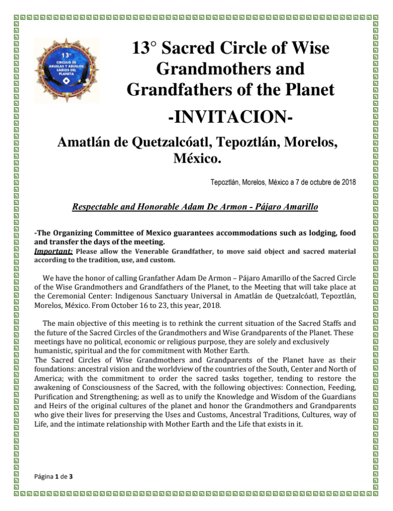 Pájaro Amarillo of the Sacred Circle of the Wise Grandmothers and Grandfathers of the Planet 1